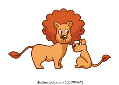 Father lion with thick mane and little lionet