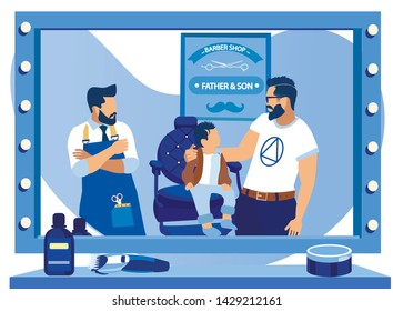 Father and Little Son in Barbershop. Boy with Stylish Haircut Sit on Chair in front of Big Mirror, Fashioned Young Dad with Beard and Hairdo Hugging and Admire of him, Cartoon Flat Vector Illustration