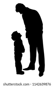 Father looking at son silhouette vector