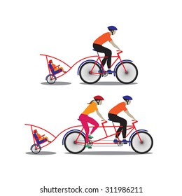 Father and mother biking with little son. Vector illustration. Elements for design.