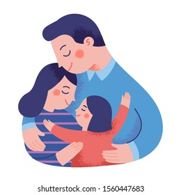father, mother and daughter hugging warmly and lovingly, the concept of a happy family full of love
