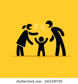 Father and mother quarrel in front of the child. Vector pictogram.