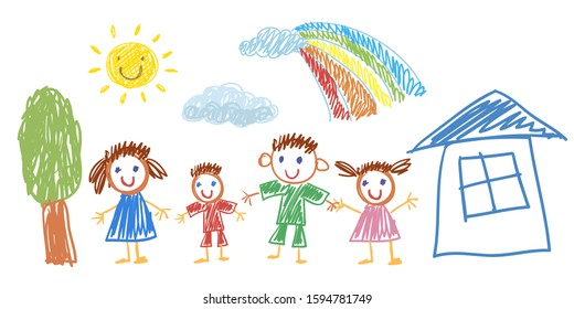 Father, mother, son and daughter together. Happy family with house and rainbow. Vector illustration kids drawing style.