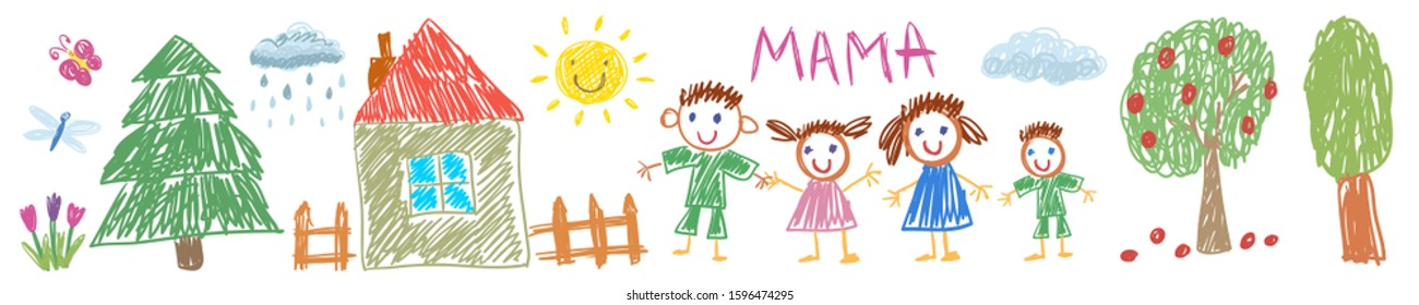 Father, mother, son and daughter together. Happy family. Vector illustration kids drawing style.