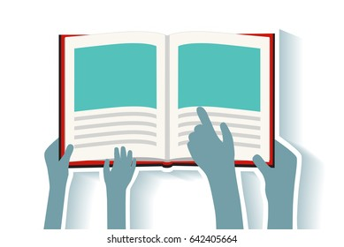 Father Mother or Teacher Reading Library Books with Child - Son or Daughter - Hands Pointing