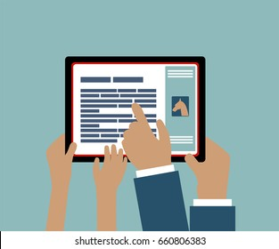 Father Mother or Teacher Using Tablet with Child - Son or Daughter - Hands Pointing