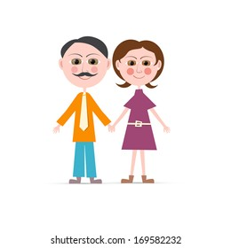 Father and Mother Vector Illustration Isolated on white Background