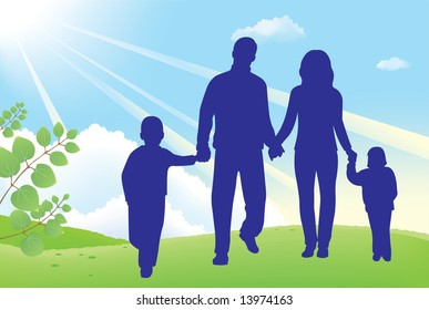 father and mother walk with children