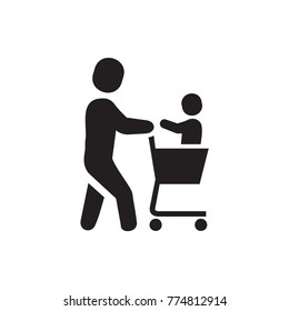 father with not in shopping cart icon illustration isolated vector sign symbol