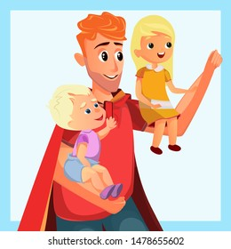 Father Play Superhero in Costume Red Cape Vector Illustration. Cartoon Boy Girl Sit on Man Hand. Happy Dad Son Daughter Family. Father Day Celebration Card. Fatherhood Strength Concept
