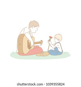 father playing guitar and son holding a flower. hand drawn style vector doodle design illustrations.