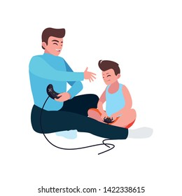 father playing video game with son characters