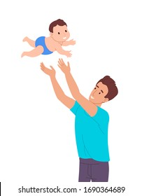 Father plays with the baby, throws a small child into the air. The kid has fun flying. Dad stays at home and takes care of a newborn baby. Guy on maternity leave. Vector illustration in a flat style.