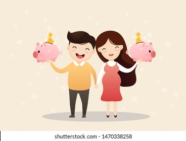 A father and pregnant mother to be holding a piggy bank. saving money. Saving money for future. vector, illustration.