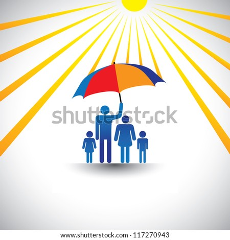 Father protecting family from hot sun with umbrella. The graphic represents father holding a colorful umbrella  which covers his family which includes his wife & children(concept of caring, love, etc)