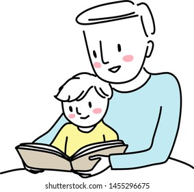 Father reading bedtime story with little child. Man reading a storybook to his little son. Little boy reading a storybook together with his dad. Father spending happy family time with his child.