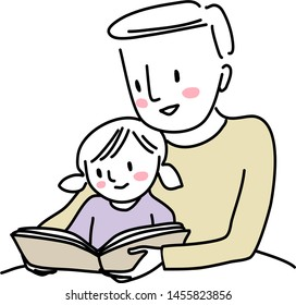 Father reading bedtime story with little child. Man reading a storybook to his cute daughter. Little girl reading a storybook together with her dad. Father spending happy family time with his child.