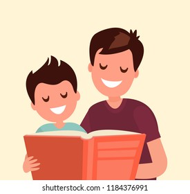 Father reading a book to his son.
