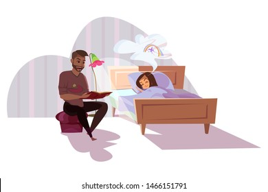 Father reading for daughter flat illustration. Parent and spending time together cartoon characters. Kid sleeping in bed, dad reading bedtime story, fairytale in book isolated clipart