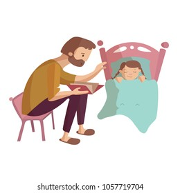 Father reads book to child girl who is about to fall asleep at the night in the bed vector cartoon illustration