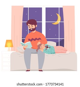 Father Reads Book to Daughter at Night Before Sleep by her bed. Literature Knowledge concept.
