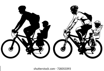 father riding a toddler in bicycle baby seat silhouette and sketch - vector