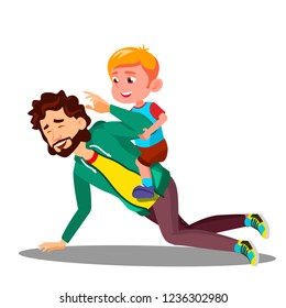 Father Rolling On His Back A Small Son Vector. Isolated Illustration