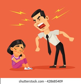 Father scolds his daughter. Vector flat cartoon illustration