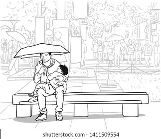 Father Daughter Lap Stock Illustrations Images Vectors Shutterstock