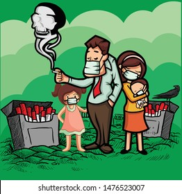 father smoking beside wife daughter and baby. vector for health campaign poster