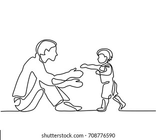 Father and son baby beginning to walk. Continuous line drawing. Vector silhouette