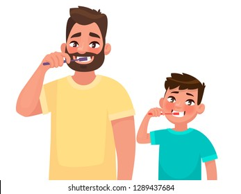 Father and son brush their teeth with toothpaste. Mouth Hygiene. Vector illustration in cartoon style
