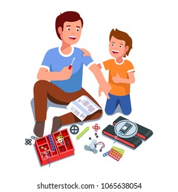 Father and son building electric toy project together having fun playing & smiling. Father and kid sitting on floor next to toy kit parts. Family education game. Flat isolated vector illustration