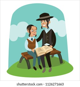 father and son celebrating passover reading the Haggadah, parent with children sitting on bench and read book about religion Torah. Jewish family Man little kids in yarmulke, boy illustration design
