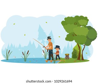Father and son characters fishing. Vector flat cartoon illustration