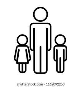 father with son and daughter figures silhouettes