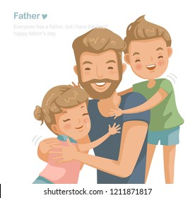 Father son and daughter hugging, Handsome young man playing with children at their home together. Family love affair, care, collateral, insurance and scholarship. Cartoon character used widely. vector