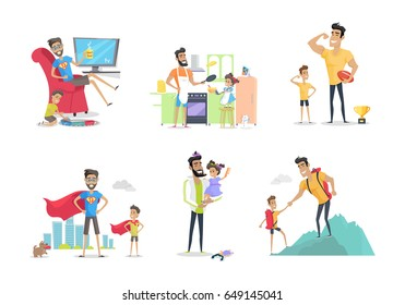 Father and son or daughter posters set. Having fun together. Playing with dad. Role model, greatest mentor. Part of series of fathers day celebration banners. Honoring dads. Fatherhood concept. Vector