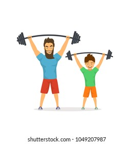 father and son exercising together, lifting barbells in gym, dad gives good example to his kid, healthy lifestyle active family isolated vector illustration fun scene