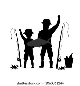 father and son fishing cartoon vector illustration silhouette scene