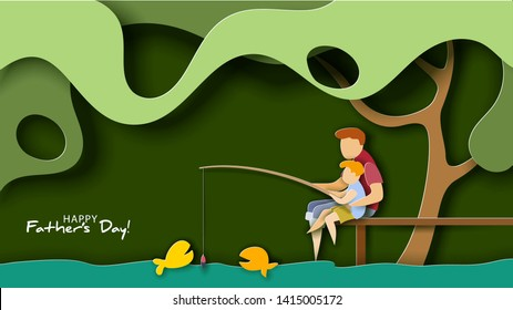 Father and son fishing. Happy father s day card. Paper cut style. Vector illustration