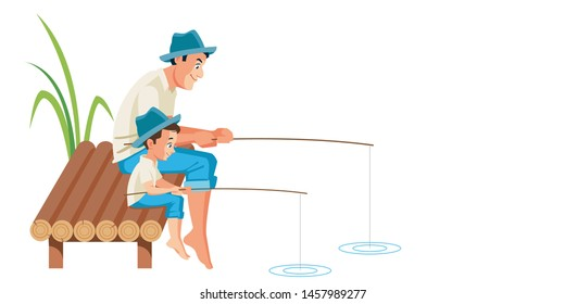 Father and son fishing together vector illustration scene. Happy family. Cute cartoon characters isolated on white background.