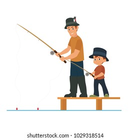 father and son are fishing. vector illustration isolated on white background.