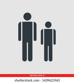 Father and son flat icon, vector illustration on gray background