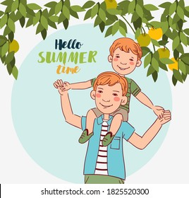 Father and son having fun and playing. Happy family vector concept. Cute boy sits on the shoulders of his father. Summer landscape background. Vacation time