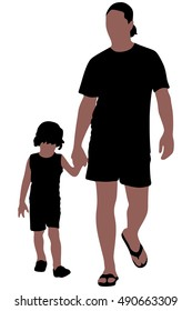 Father and Son Holding Hands Walking Together