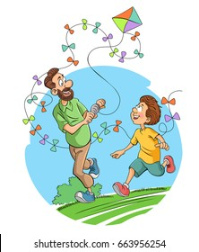 Father son and kite on field vector illustration