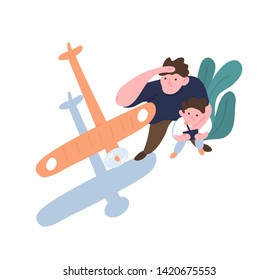 Father and son launch model aircraft. Dad and kid watching flight of toy airplane, aeromodel or glider. Parent and child enjoying outdoor leisure activity or hobby. Flat cartoon vector illustration.