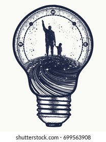 Father and son in lightbulb, surreal tattoo art. Happy family of the future. Immortality of human life t-shirt design