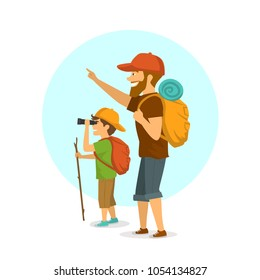 father and son outdoors, boy and man camping hiking traveling with backpacks isolated cartoon vector illustration scene